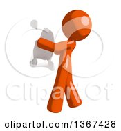 Clipart Of An Orange Man Reading A List Facing Left Royalty Free Illustration