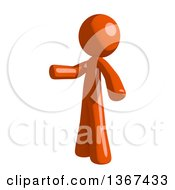 Clipart Of An Orange Man Presenting To The Left Royalty Free Illustration