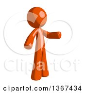 Clipart Of An Orange Man Presenting To The Right Royalty Free Illustration