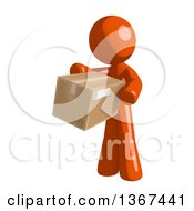 Clipart Of An Orange Man Holding A Box Royalty Free Illustration by Leo Blanchette