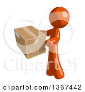 Clipart Of An Orange Man Holding A Box Facing Left Royalty Free Illustration by Leo Blanchette