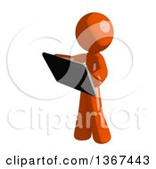 Clipart Of An Orange Man Using A Tablet Computer Royalty Free Illustration by Leo Blanchette