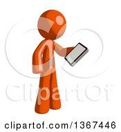 Orange Man Looking At A Smart Phone