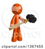 Clipart Of An Orange Man Holding A Sledgehammer Royalty Free Illustration