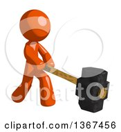 Clipart Of An Orange Man Swinging A Sledgehammer Royalty Free Illustration