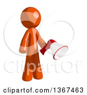 Clipart Of An Orange Man Holding A Megaphone Royalty Free Illustration