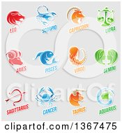 Clipart Of White Outlined Sticker Styled Zodiac Designs With Text On Gray Royalty Free Vector Illustration by cidepix
