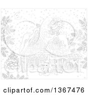 Clipart Of A Black And White Christmas Eve Scene Of Santa Claus On A Roof Top On A Snowy Christmas Eve Night Royalty Free Vector Illustration by Alex Bannykh
