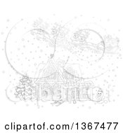 Clipart Of A Black And White Christmas Eve Scene Of Santa And His Reindeer Flying Over A Home In The Snow Royalty Free Vector Illustration