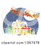 Clipart Of A Christmas Eve Scene Of Santa And His Reindeer Flying Over A Home In The Snow Royalty Free Vector Illustration
