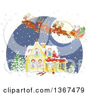 Clipart Of A Cartoon Christmas Eve Scene Of Santa And His Reindeer Flying Over A Home In The Snow Royalty Free Vector Illustration