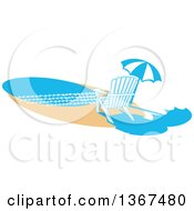 Clipart Of A Chair And Umbrella On A Beach Royalty Free Vector Illustration
