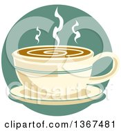 Retro Cup Of Hot Coffee On A Saucer Over A Blue Circle