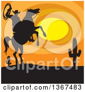 Clipart Of A Silhouetted Horseback Cowboy Holding A Rope On A Rearing Horse Against A Desert Sunset Royalty Free Vector Illustration