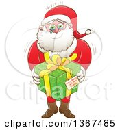 Clipart Of A Cartoon Touched Santa Claus Crying And Holding A Gift Royalty Free Vector Illustration