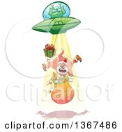 Clipart Of A Cartoon Christmas Santa Claus Holding A Gift And Sack Being Abducted Up By A Ufo Royalty Free Vector Illustration by Zooco