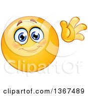 Clipart Of A Cartoon Yellow Smiley Face Emoticon Emoji Waving Hello Royalty Free Vector Illustration