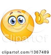 Clipart Of A Cartoon Yellow Smiley Face Emoticon Emoji Waving Hello Royalty Free Vector Illustration