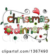 Clipart Of Colorful Sketched Christmas Dinner Word Art Royalty Free Vector Illustration