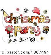 Clipart Of Colorful Sketched Christmas Party Word Art Royalty Free Vector Illustration