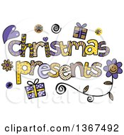 Clipart Of Colorful Sketched Christmas Presents Word Art Royalty Free Vector Illustration by Prawny
