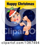 Clipart Of A Rosie The Riveter Spoof With Happy Christmas Text Over Blue Stars And Snowflakes Royalty Free Illustration