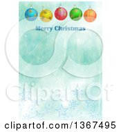 Clipart Of A Distressed Blue Background With Baubles And Merry Christmas Text Royalty Free Illustration by Prawny