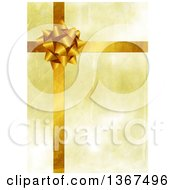 Clipart Of A Golden Gift Bow And Ribbons Background Royalty Free Illustration by Prawny