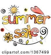 Clipart Of Colorful Sketched Summer Sale Word Art Royalty Free Vector Illustration