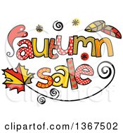 Clipart Of Colorful Sketched Autumn Sale Word Art Royalty Free Vector Illustration