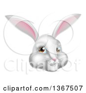 Clipart Of A Happy White Easter Bunny Rabbit Face Royalty Free Vector Illustration