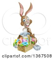 Clipart Of A Happy Brown Easter Bunny With A Basket Of Eggs And Flowers Royalty Free Vector Illustration