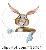 Clipart Of A Happy Brown Easter Bunny Rabbit Pointing Down At A Sign Royalty Free Vector Illustration