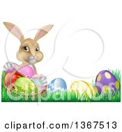 Clipart Of A Cute Beige Bunny Rabbit With A Basket And Easter Eggs In Grass With Text Space Royalty Free Vector Illustration
