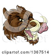 Clipart Of A Cartoon Tough Brown Razorback Boar Mascot Head Facing Right Royalty Free Vector Illustration by AtStockIllustration