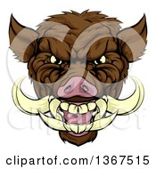 Clipart Of A Cartoon Tough Brown Razorback Boar Mascot Head Royalty Free Vector Illustration by AtStockIllustration