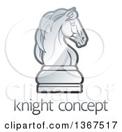 Clipart Of A Gradient Chess Knight Piece Over Sample Text Royalty Free Vector Illustration by AtStockIllustration