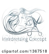 Clipart Of A Beatiful Womans Face In Profile With Long Hair And Scissors Snipping Off A Lock Over Sample Text Royalty Free Vector Illustration by AtStockIllustration