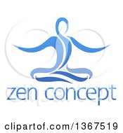 Clipart Of A Blue Relaxed Person Meditating Over Text Royalty Free Vector Illustration