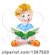 Clipart Of A Happy Blond Caucasian School Boy Reading A Book On The Floor Royalty Free Vector Illustration by AtStockIllustration