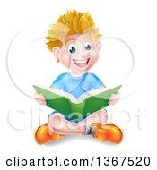 Happy Blond Caucasian School Boy Reading A Book On The Floor