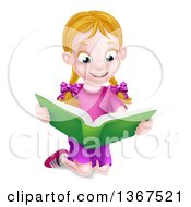 Happy Blond Caucasian School Girl Kneeling And Reading A Book