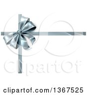 Clipart Of A 3d Silver Christmas Birthday Or Other Holiday Gift Bow And Ribbon On White Royalty Free Vector Illustration