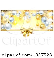 Clipart Of A 3d Gold Christmas Birthday Or Other Holiday Gift Bow And Ribbon Over Baubles With Gold And White Royalty Free Vector Illustration