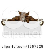 Clipart Of A Snarling Brown Wolf Mascot Over A Blank Sign Royalty Free Vector Illustration