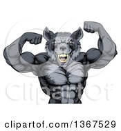 Clipart Of A Fierce Muscular Gray Wolf Man Mascot Flexing His Muscles From The Waist Up Royalty Free Vector Illustration