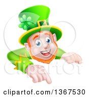 Cartoon Happy St Patricks Day Leprechaun Pointing Down Over A Sign