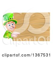 Clipart Of A St Patricks Day Leprechaun Pointing Around A Wooden Sign Royalty Free Vector Illustration by AtStockIllustration