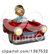 Clipart Of A Happy Black Boy Driving A Red Convertible Car Royalty Free Vector Illustration by AtStockIllustration