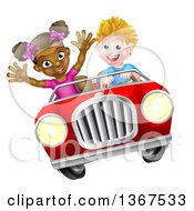 Clipart Of A Happy White Boy Driving A Black Girl And Catching Air In A Convertible Car Royalty Free Vector Illustration by AtStockIllustration